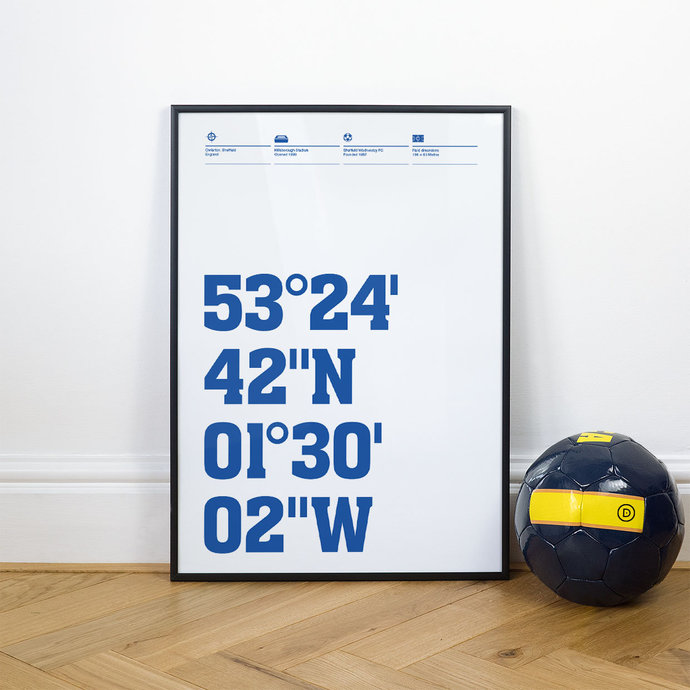 Sheffield Wednesday, Football Stadium Coordinates Posters