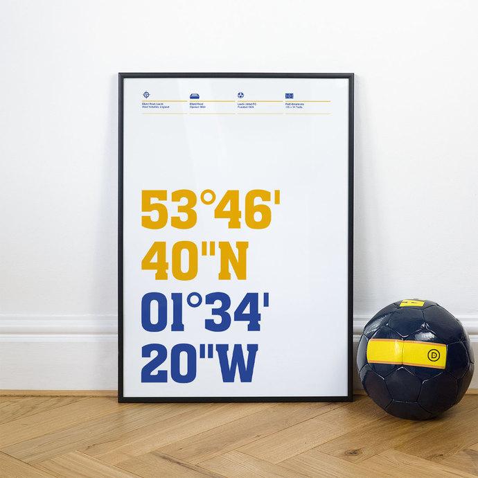 Leeds United, Football Stadium Coordinates Posters