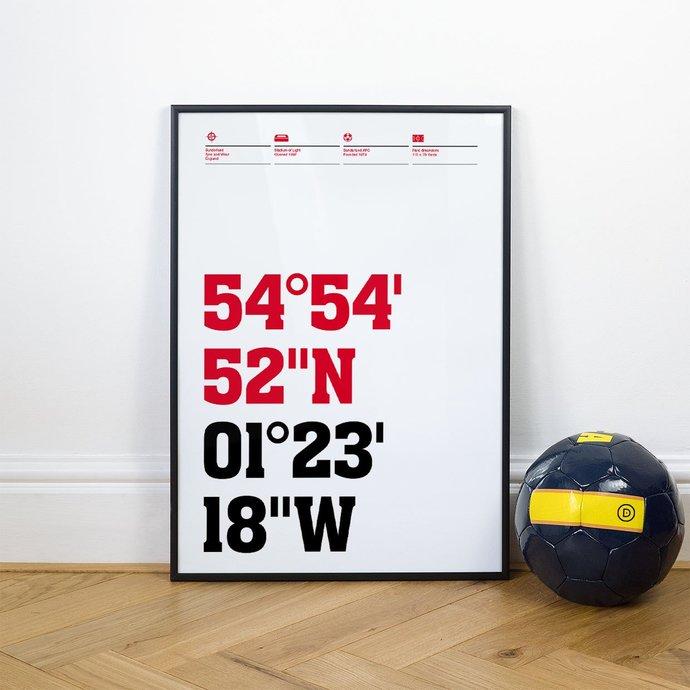 Sunderland, Football Stadium Coordinates Posters