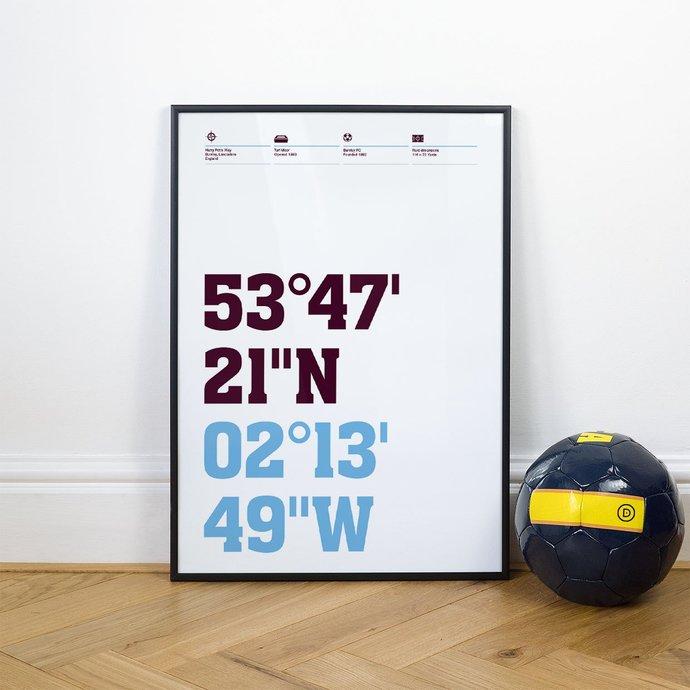 Burnley, Football Stadium Coordinates Posters