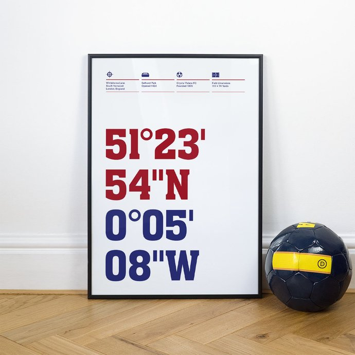Crystal Palace, Football Stadium Coordinates Posters