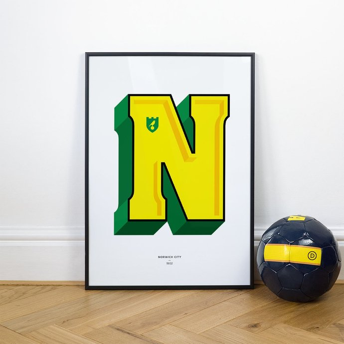 N is for Norwich, Football Typography Print
