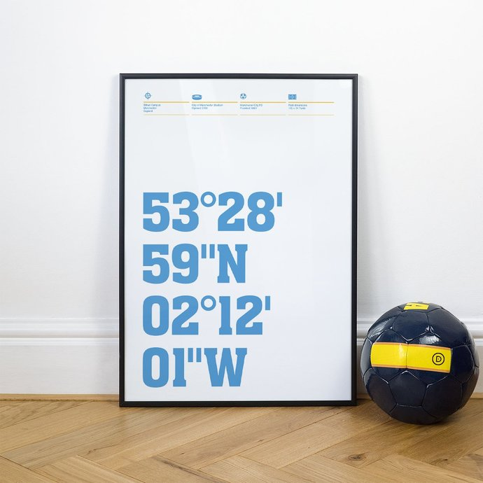 Manchester City, Football Stadium Coordinates Posters