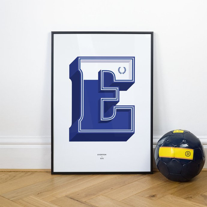 E is for Everton, Football Typography Print