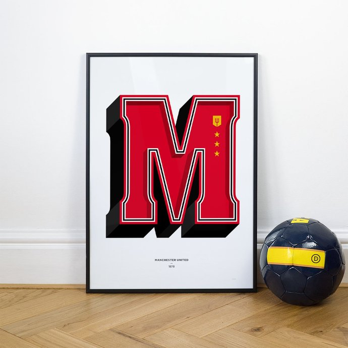 M is for Manchester, Football Typography Print