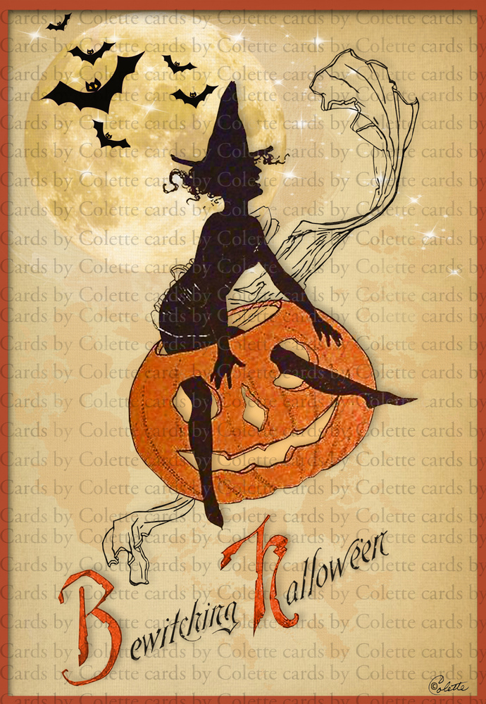 Halloween Witch Art Deco Bewitching Greeting Card 1288