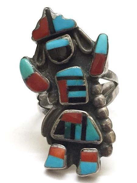 Vintage Zuni Sterling Silver with Multi Stone Inlay Kachina Dancer Ring