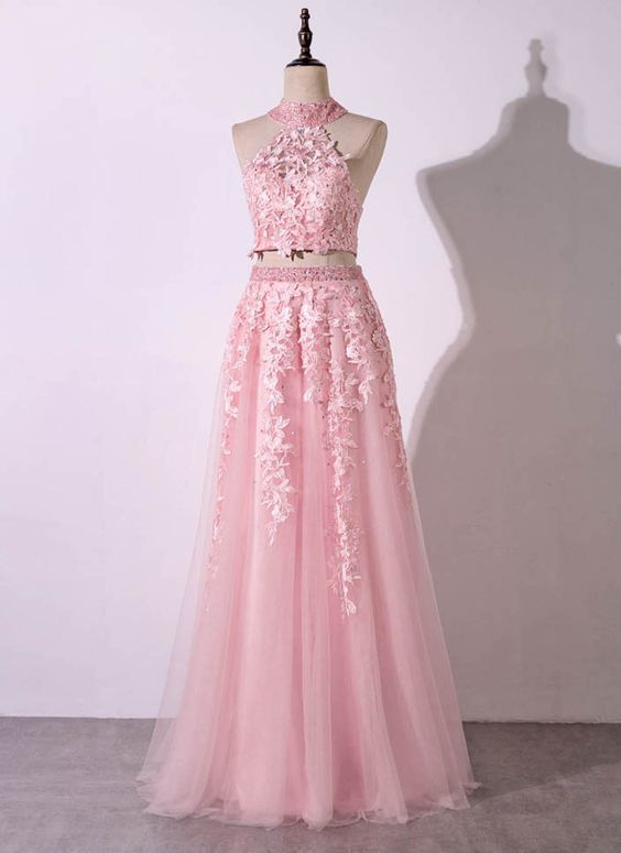 Pink tulle strapless two pieces long lace prom dress, open back party dress
