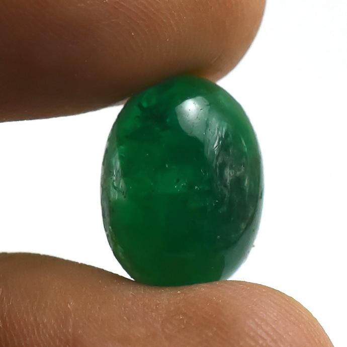 Green Emerald Hand polished Oval Cabochon Precious Loose Gemstone