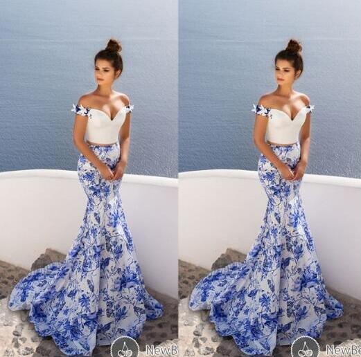 Printed Evening Dress, 2 Piece Prom Dresses, Mermaid Evening Dress, Off Shoulder