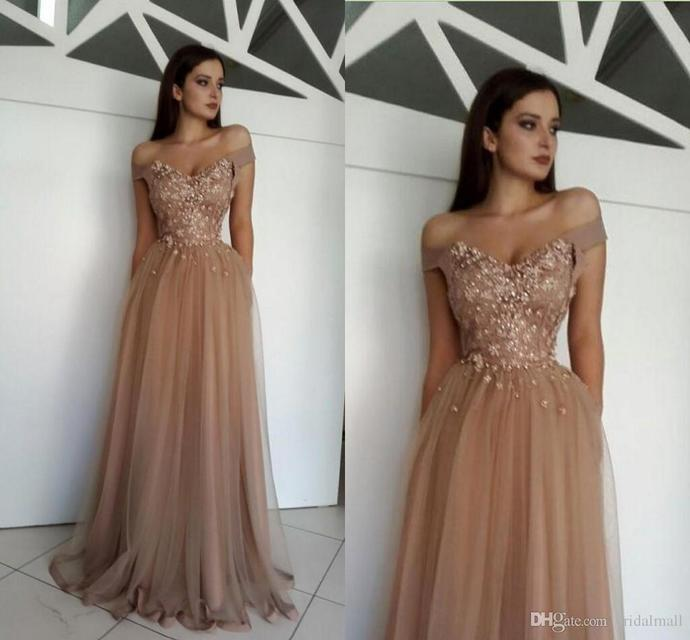 Charming Nude Tulle Appliques Prom Dresses Long Off Shoulder Evening Gowns