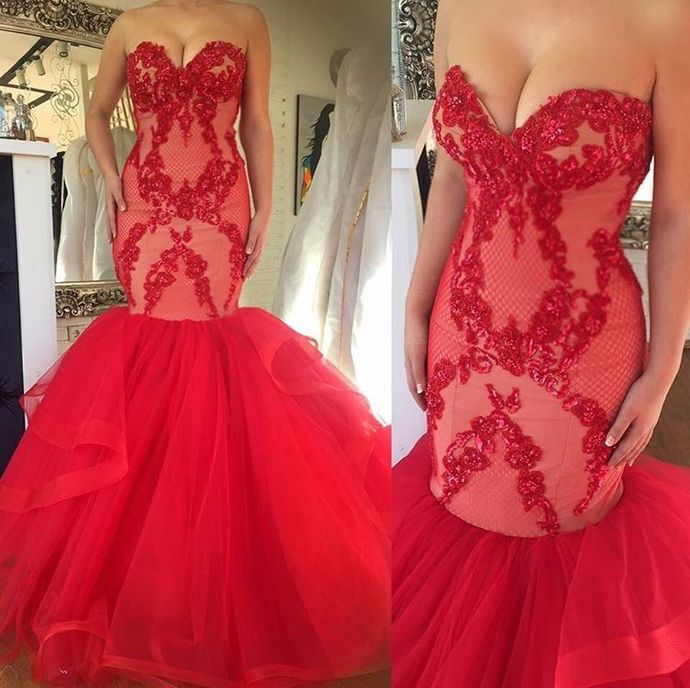 Mermaid Prom Dresses,Lace Prom Dresses,Red Prom Dresses,Tulle Prom