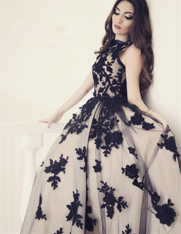 Cheap prom dresses 2017,Evening Dress,Black and champagne evening dresses