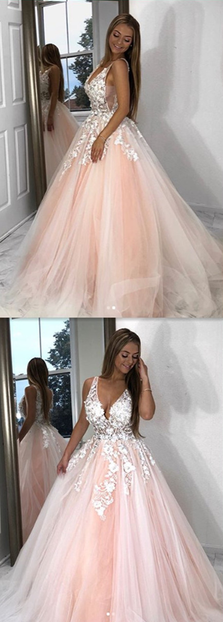 7ccf2203933 2019 Ball Gown Appliques long prom dress