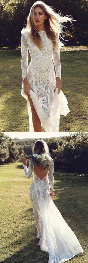 Ivory Sheath Brush Train Long Sleeve Backless Lace Wedding Dress,Beach Wedding