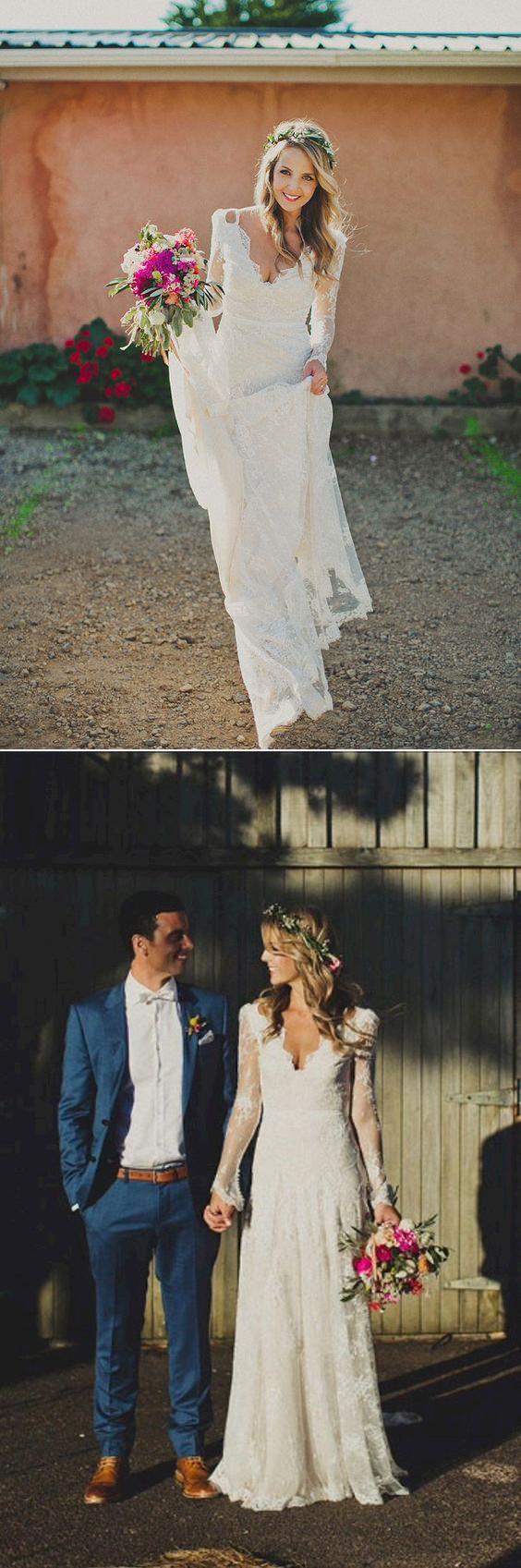 Sexy Sheath Backless Boho Bridal Wedding Dresses Long Lace Wedding Dresses