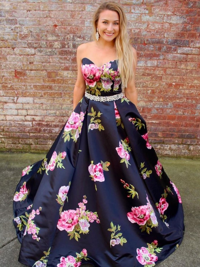 A Line Strapless Floral Printed Prom Dresses Navy Blue Beaded Quinceanera Dress