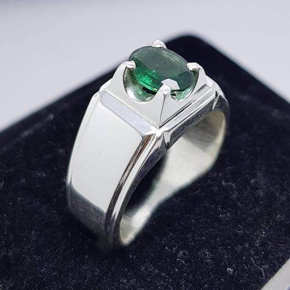 Natural Emerald Ring Unheated Untreated Bluish Green Emerald Ring Afghanistan