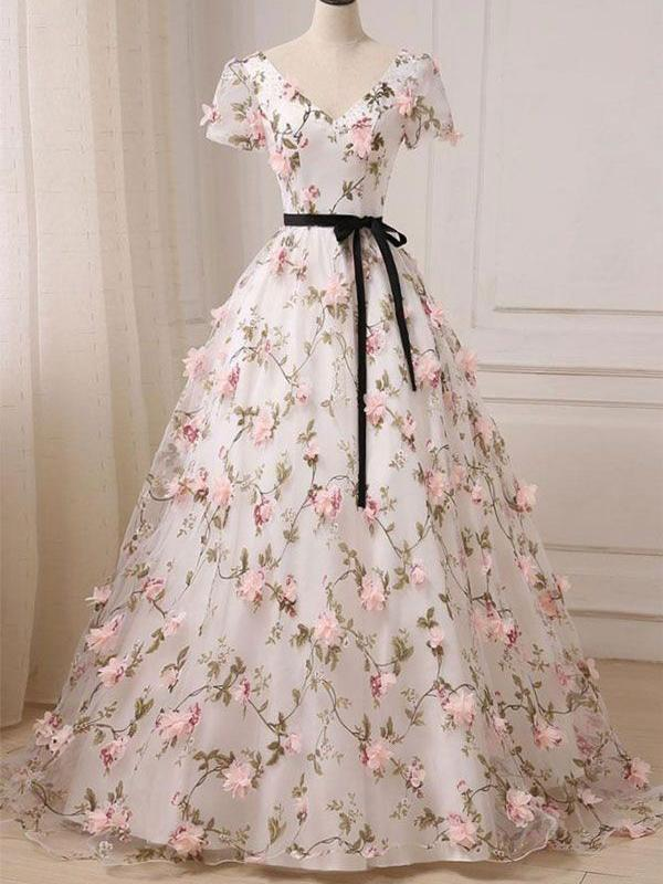 Short Sleeve V-Neck Floral Pink Appliqued Prom Dresses Evening Ball Gowns with