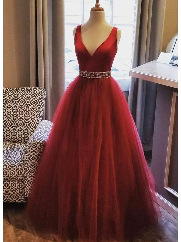 A Line Plus Size Red Long Evening Dresses for Women Beaded Tulle Prom  Dresses