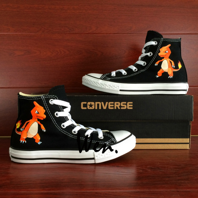 Black Converse Hand Painted Anime Shoes Pokemon Charmeleon Canvas Sneakers  Man 46650ac2e