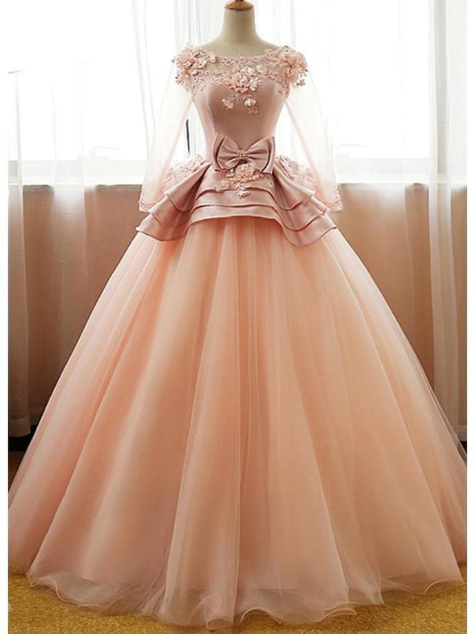 3/4 Sleeve Applique Beaded Prom Dresses Peach Organza by lass on