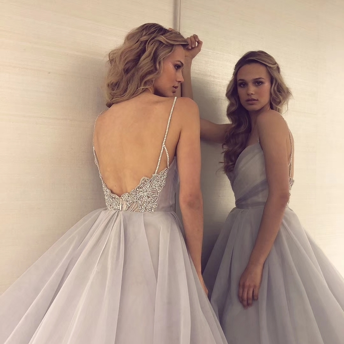 Sexy Backless Straps Gray Tulle Beading Ball Gown Prom Dress Graduation Party