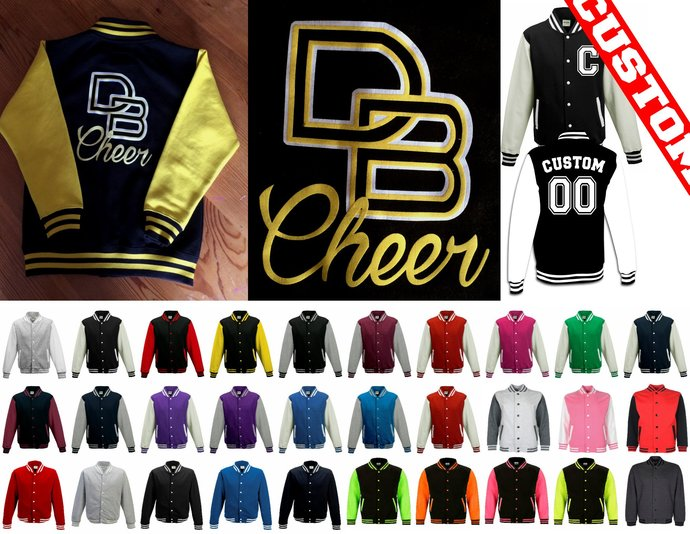 Customized Black Yellow Youth Womens Cheer Varsity Jackets add your logo