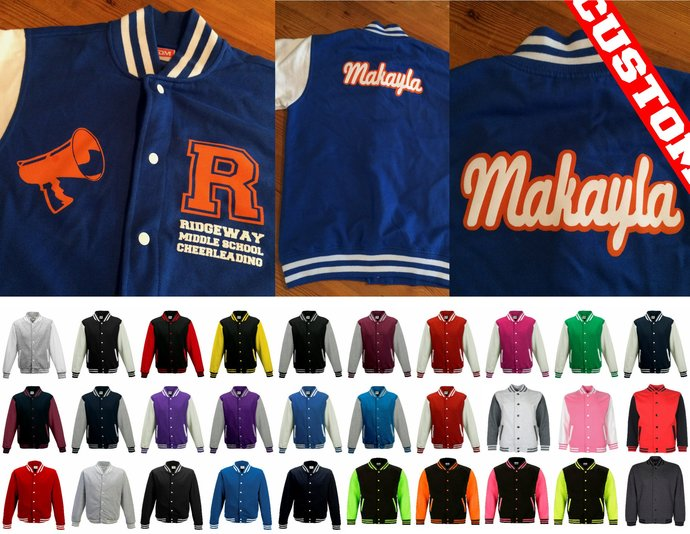 Cheerleaders Personalized Varsity Jacket add your Cheer Team logo image text