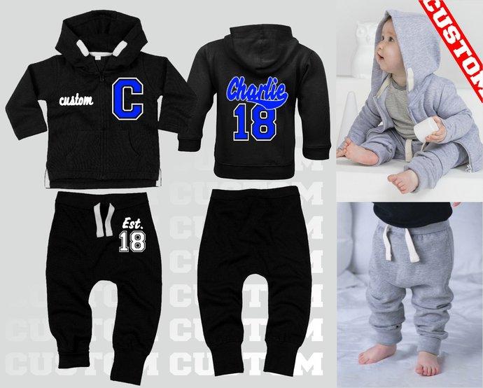 Custom name text Baby Boys Girls Tracksuits Hoody + Pants Sweatshirts Sweaters