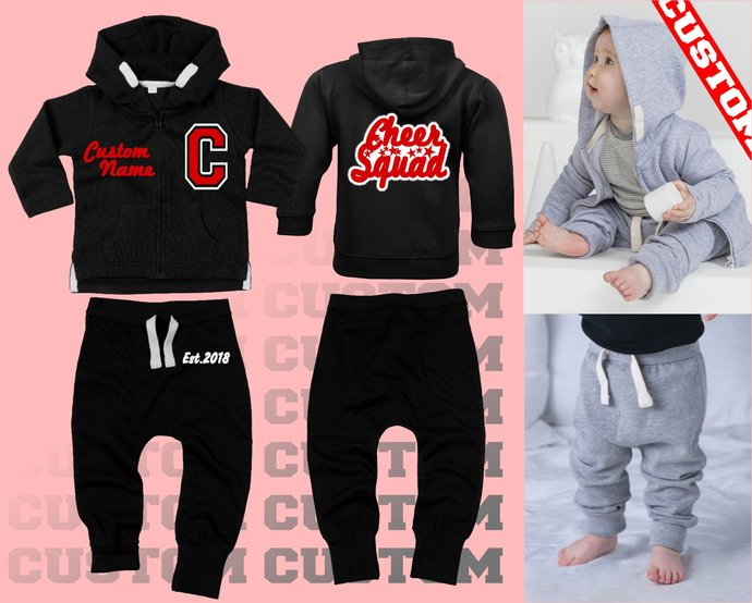 Custom Printed CHEER Squad Baby Girls Customised Sweatsuit lettermen Hooded