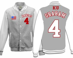 c1076bd408c Custom Devonte Graham Kansas Jayhawks Basketball Jersey Varsity Jacket  Sweater