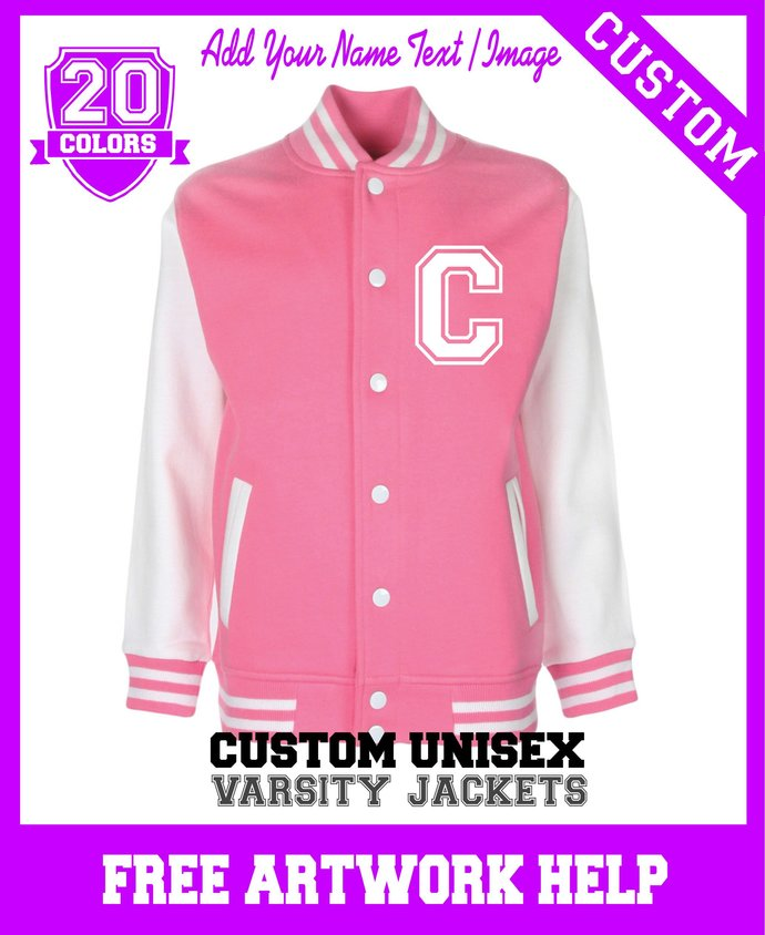 Custom Printed Girls Kids Pink Varsity Jackets add your own text image name logo