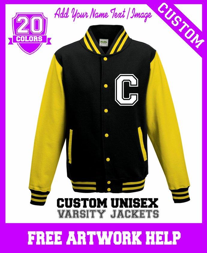 Yellow Black Cheerleaders Football Team Printing Varsity Jackets Sweaters Custom