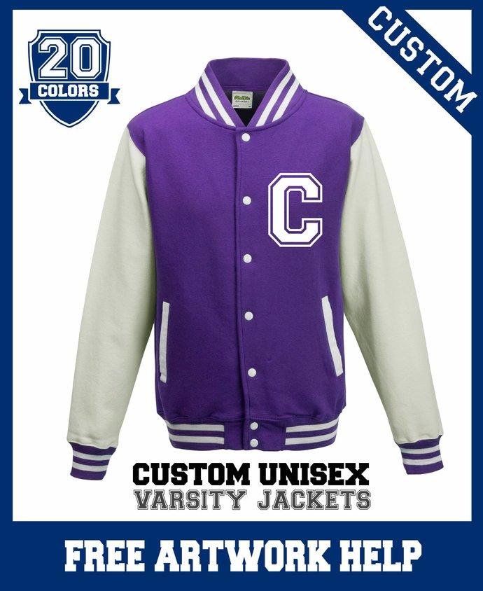 Personalized Purple White Children's Varsity Jackets Boys Girls Sweaters Custom
