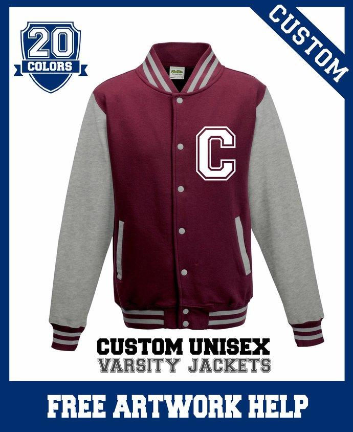 Custom Printed Maroon Kids Football Varsity Letterman Sweaters Boys Girls