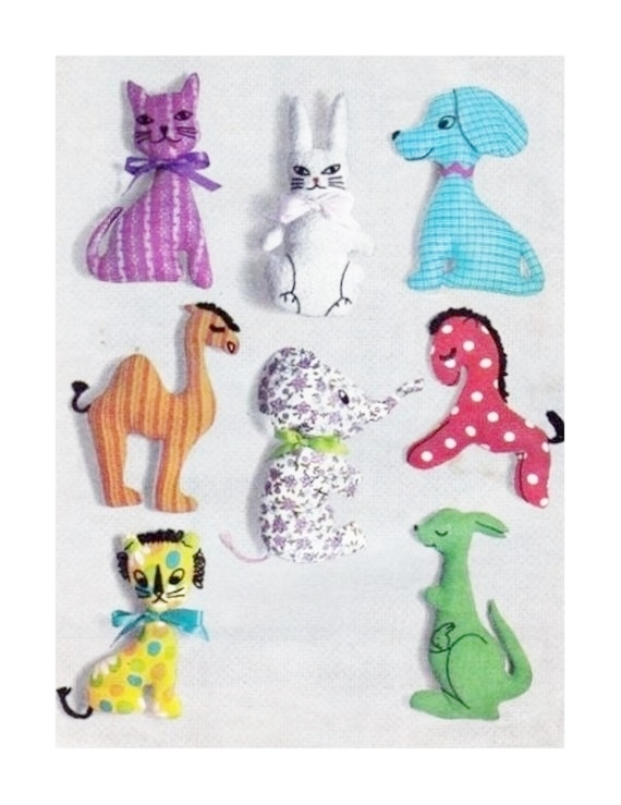 Instant PDF Digital Download Vintage Sewing Pattern  8 Stuffed Plush Soft Body