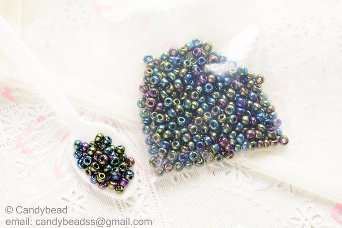 4mm Metalic Beads, Effect rainbow colors, 22g.