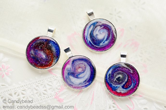 4x Galaxy And Space Resin Pendant For Crafts Or By Candybead On Zibbet