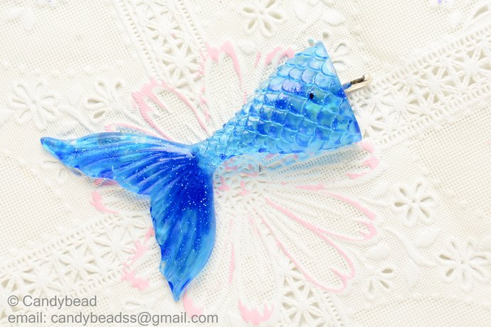 Mermaid Resin Tail Embellishment - Mermaid Applique- Embellishment- DIY Headband