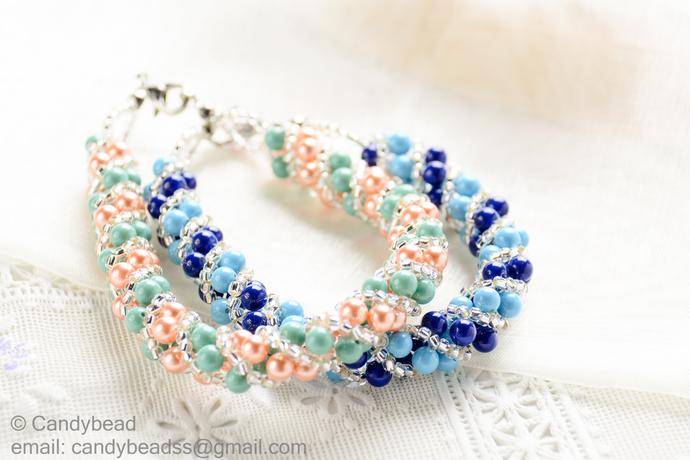 SALE Size 8 1/2 (21.5 cm) Swarovski Bracelet; Glass Bracelet; Green and Orange