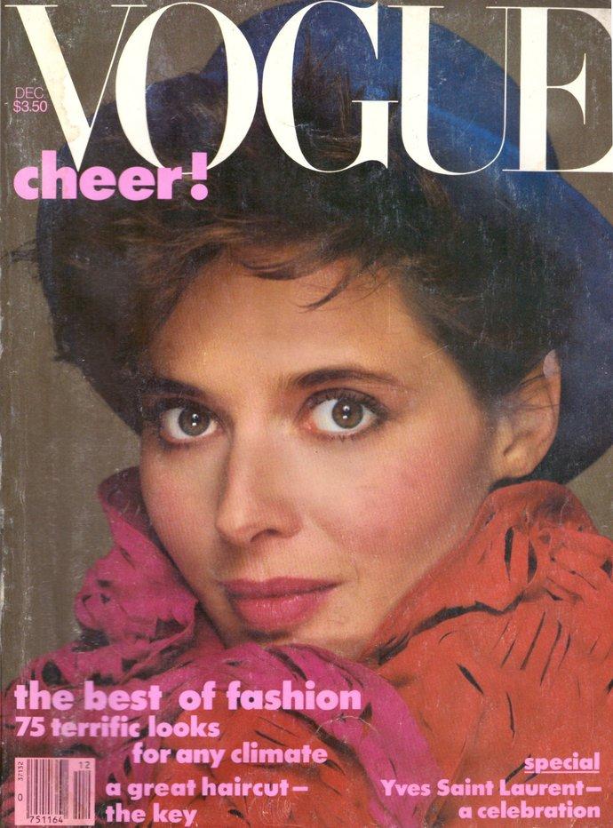 1983 Vogue Fashion Magazine Isabella Rossellini Yves Saint Laurent Veronica