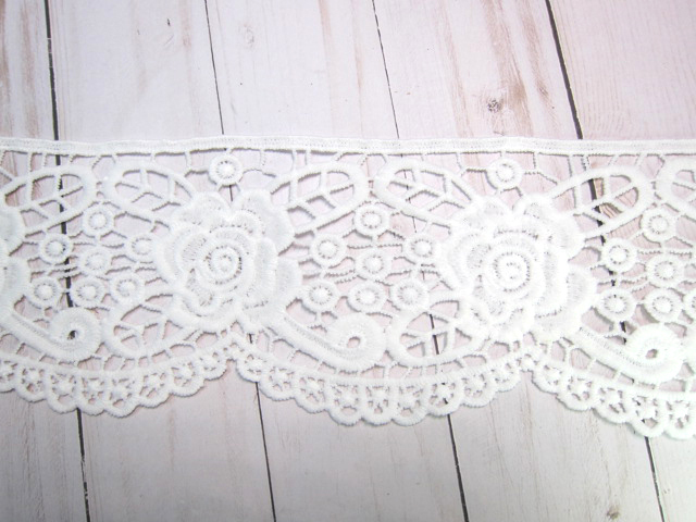 """1yd Embroidered Flower Venice Lace - 4"""" White stl"""