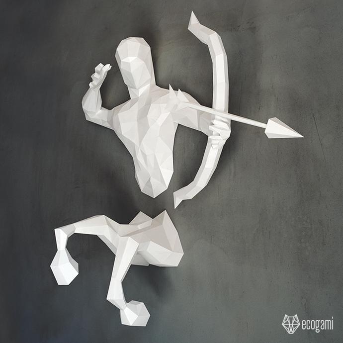 Make your own papercraft centaur   DIY wall mount   3D papercraft sculpture  
