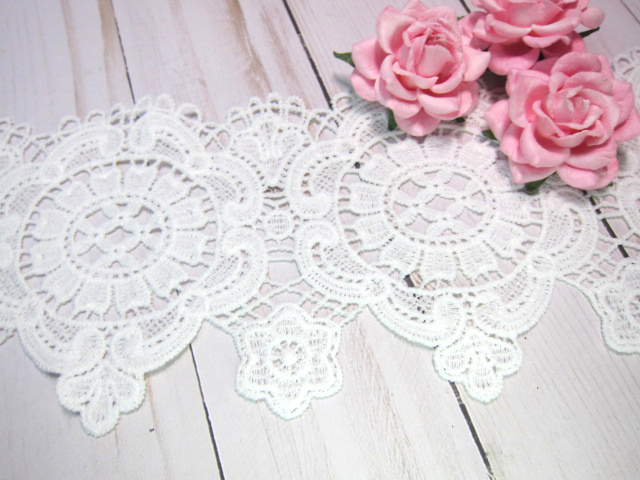 "1yd Embroidered Ornate Frame Venice Applique Lace - 4.5"" White"