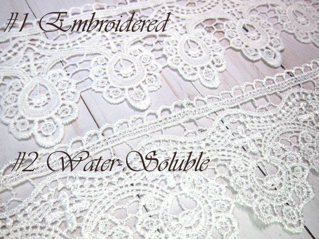 "1yd Embroidered Venice Lace - 3.75"" White stl"