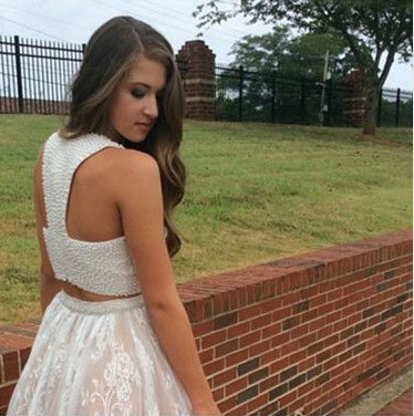Two Pieces A-Line Beading Homecoming Dresses,Short Prom Dresses,Cheap Homecoming