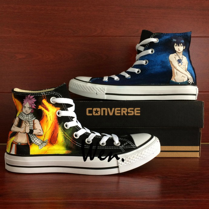 Hand Painted Anime Shoes Design Fairy Tail Natsu Gray Cosplay Shoes Black Canvas