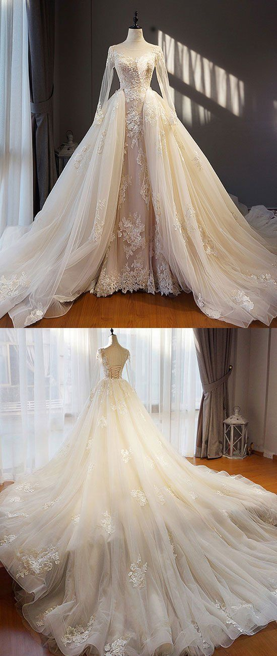 Unique champagne tulle lace long prom dress, champagne wedding dress