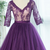 Newest Fashion Deep-V Sexy Tulle Evening Dress Real Photo Purple Lace Simple